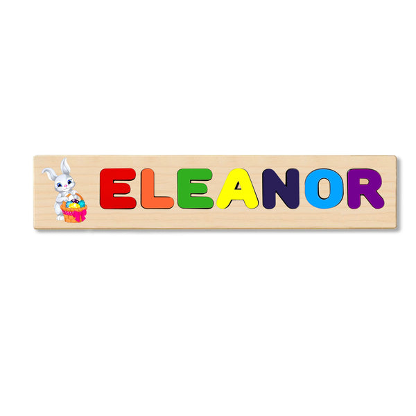 Wooden Name Puzzle Personalized Puzzle Choose Up to 12 Letters. Bunny With Egg  Basket Theme