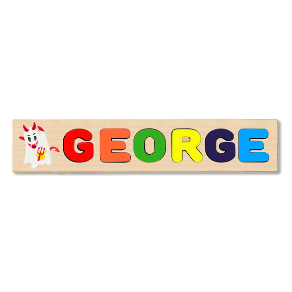 Wooden Name Puzzle Personalized Puzzle Choose Up to 12 Letters. Evil Ghost Cartoon Theme