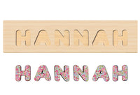 Floral Wooden Name Puzzle, Personalized Gift for One or Two Year Old Girl, Handmade in The USA