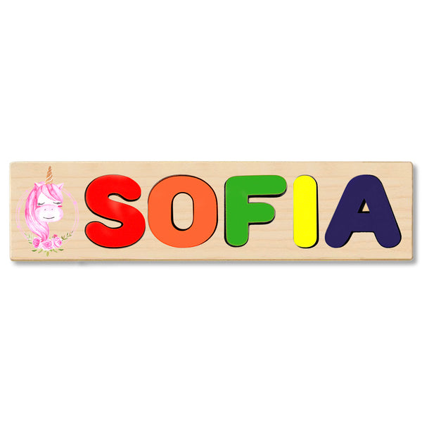 Wooden Name Puzzle Personalized Puzzle Choose Up to 12 Letters. Flower Unicorn Theme