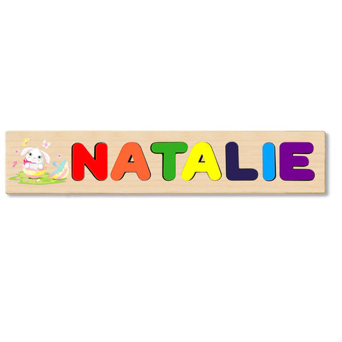 Wooden Name Puzzle Personalized Puzzle Choose Up to 12 Letters. Baby Rabbit In Egg Theme