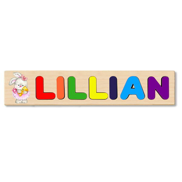 Wooden Name Puzzle Personalized Puzzle Choose Up to 12 Letters. Bunny In Tutu Holding Bear Theme