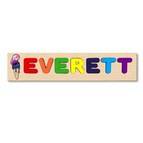 Wooden Name Puzzle Personalized Puzzle Choose Up to 12 Letters. Blue Purple Pink Icecream Theme
