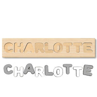 Wooden Name Puzzle Grey & White Colors - Choose Up to 12 Letters - Free Back Engraving!