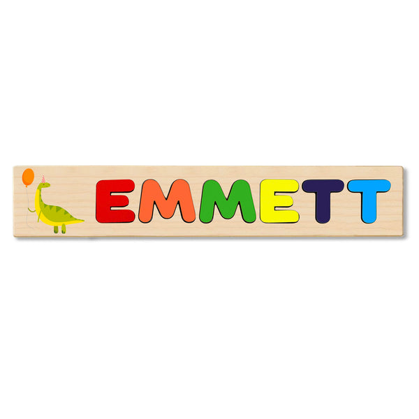 Wooden Name Puzzle Personalized Puzzle Choose Up to 12 Letters. Dinosaur With Balloon Theme