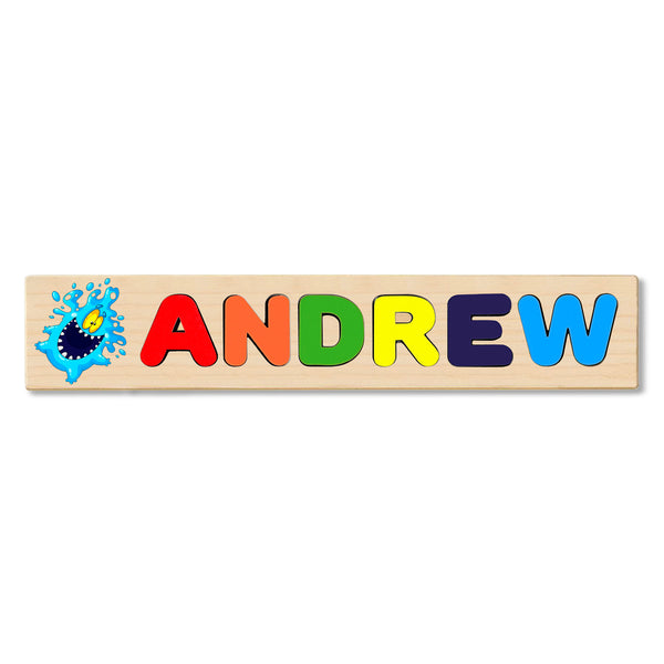 Wooden Name Puzzle Personalized Puzzle Choose Up to 12 Letters. Blue Water Monster Theme