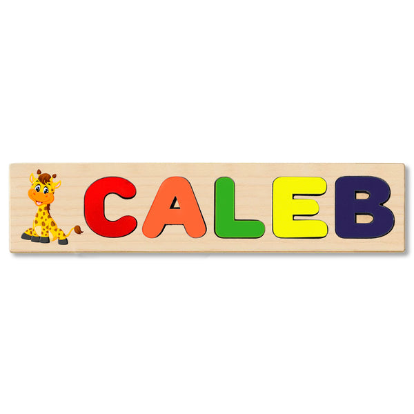 Wooden Name Puzzle Personalized Puzzle Choose Upto 12 Letters. Baby Zebra Theme