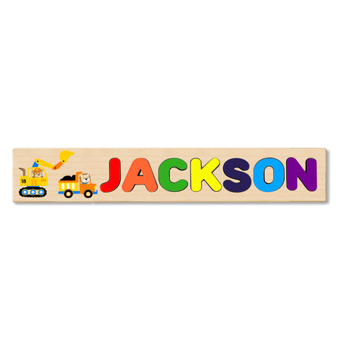 Wooden Name Puzzle Personalized Puzzle Choose Up to 12 Letters. Animals In Construction Vehicles Theme