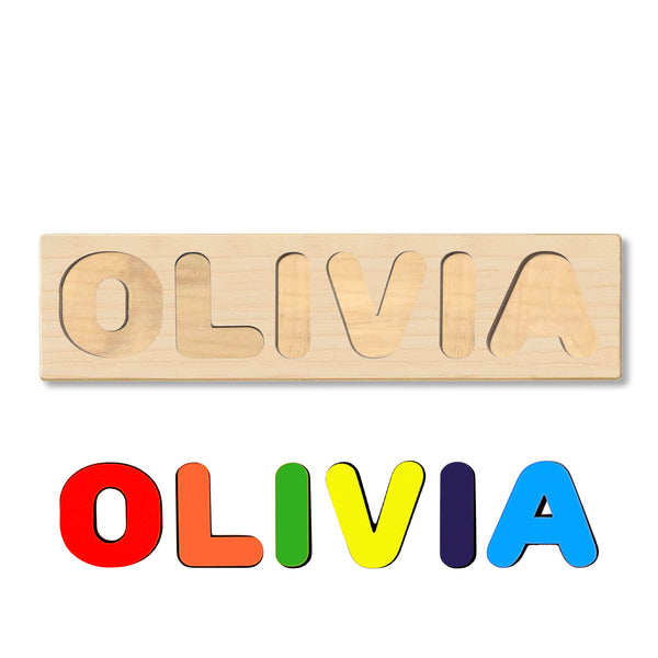 Wooden Personalized Name Puzzle - Any Name Or First & Last Name Choose up to 12 Letters No Extra Cost - OLIVIA