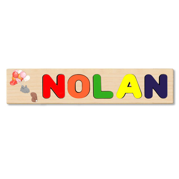 Wooden Name Puzzle Personalized Puzzle Choose Up to 12 Letters. Bunnies With Balloons Theme