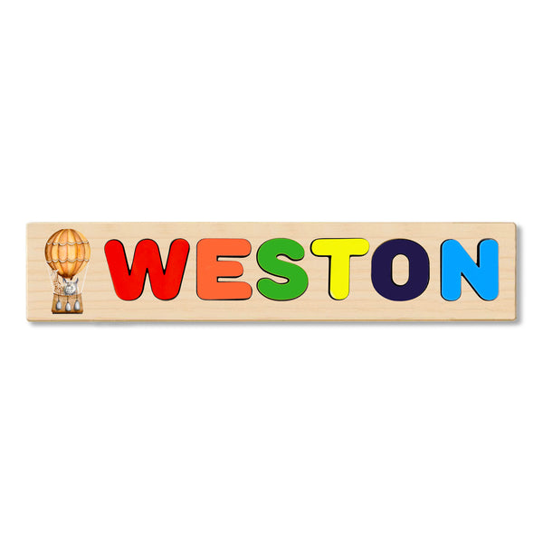 Wooden Name Puzzle Personalized Puzzle Choose Up to 12 Letters. Zebra And Rhino Hours In Hot Air Balloon Theme