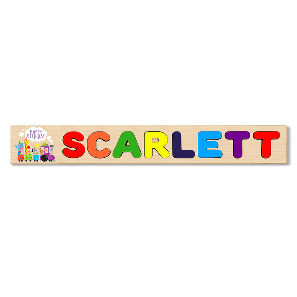 Wooden Name Puzzle Personalized Puzzle Choose Up to 12 Letters. Birthday Background Train With Lovely Animals Theme