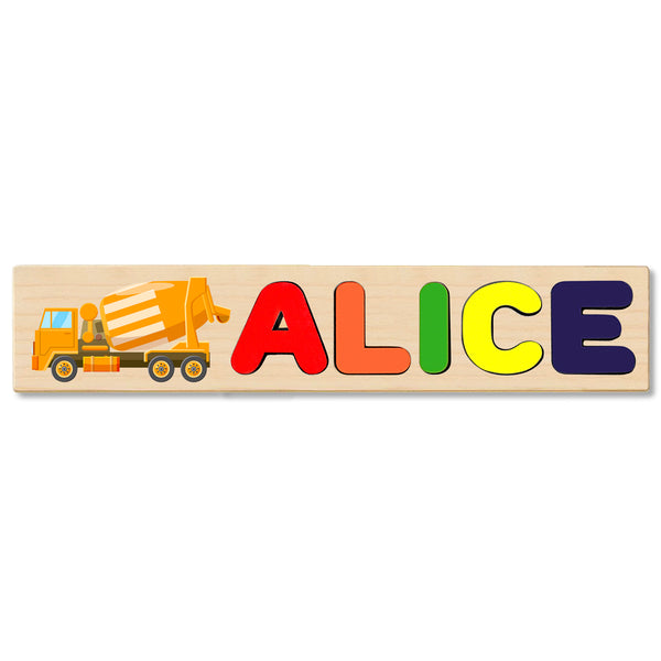 Wooden Name Puzzle Personalized Puzzle Choose Up to12 Letters. Cement Truck Theme