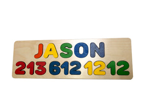 Name & Number or DOB Personalized Puzzle - Choose Up to 12 Letters or Numbers Each Row
