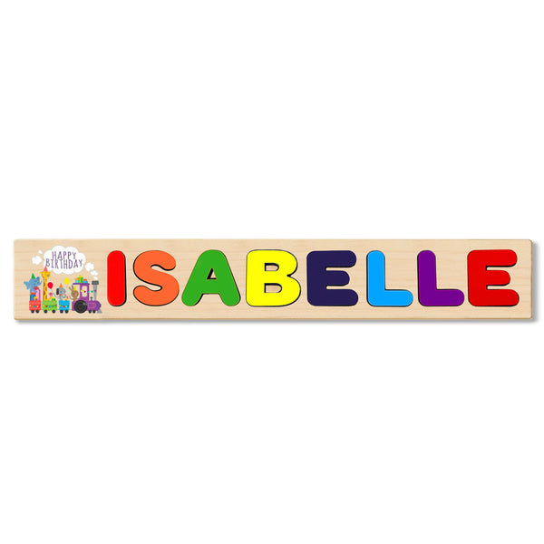 Wooden Name Puzzle Personalized Puzzle Choose Up to 12 Letters. Happy Birthday Cake Theme