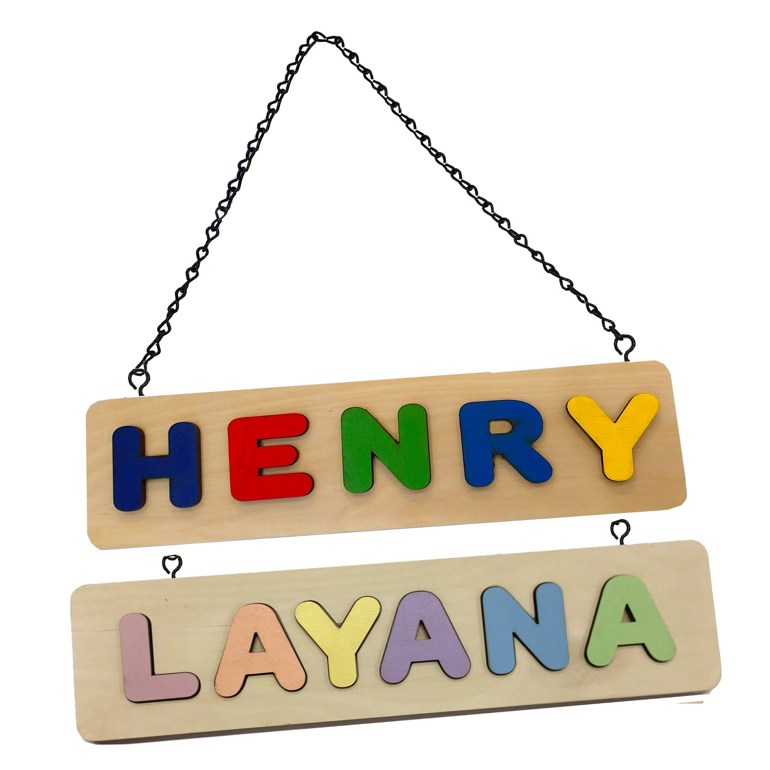 Kids Room Hanging Sign Door Name Puzzle  - Single Name Puzzle Up to 12 Letters