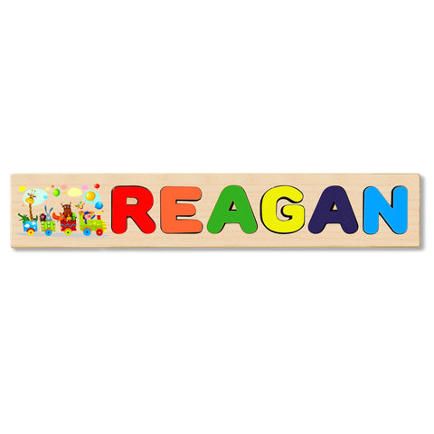Wooden Name Puzzle Personalized Puzzle Choose Up to 12 Letters. Animal On Train Theme