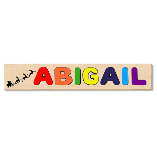 Wooden Name Puzzle Personalized Puzzle Choose Up to 12 Letters. Black Santa And Raindeer Vector Theme