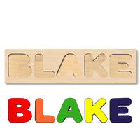 Wooden Name Puzzle Personalized Puzzle Choose Up to 12 Letters. Baby Dog In Gift Theme