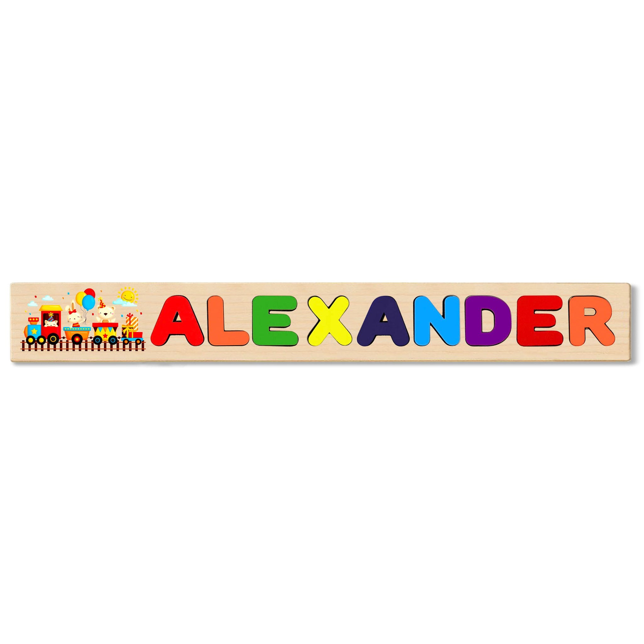 Wooden Name Puzzle Personalized Puzzle Choose Up to 12 Letters. Birthday Train Theme