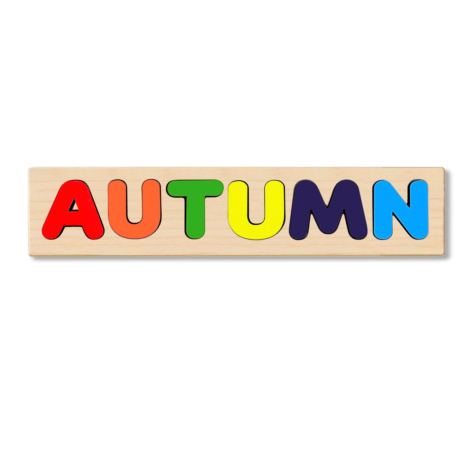 Wooden Personalized Name Puzzle - Any Name Or First & Last Name Choose up to 12 Letters No Extra Cost - AUTUMN