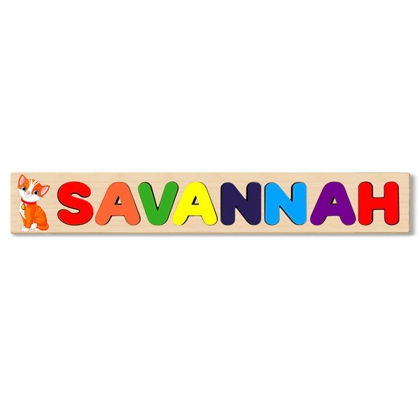 Wooden Name Puzzle Personalized Puzzle Choose Up to 12 Letters. Baby Cat  Theme