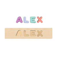 Wooden Name Puzzle Pastel Colors - Choose Up to 12 Letters - Free Back Engraving!