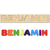 Wooden Name Puzzle PRIMARY Colors - Choose Up to 12 Letters - Free Back Engraving!