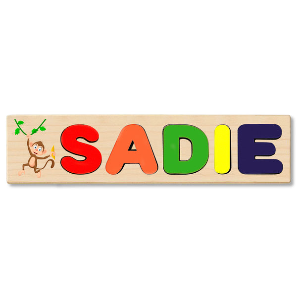 Wooden Name Puzzle Personalized Puzzle Choose Up to 12 Letters. Monkey With Banana Theme