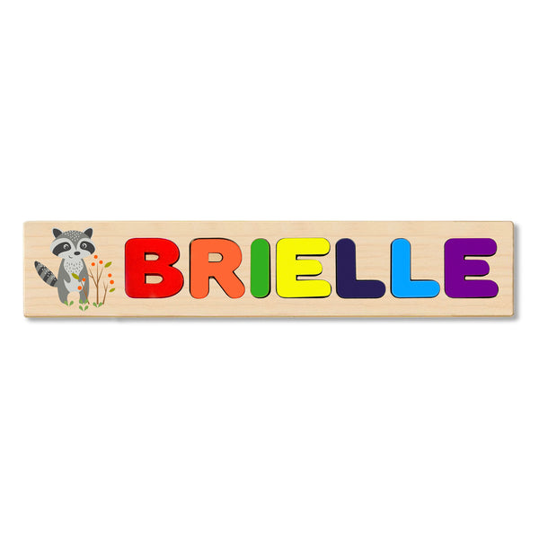 Wooden Name Puzzle Personalized Puzzle Choose Up to 12 Letters. Raccoon Cartoon Theme