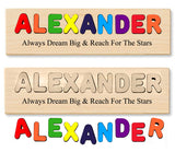 1 Name Designer Board Puzzle - Choose Up To 12 letters - Engrave Your Custom Message