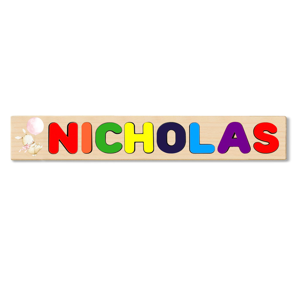 Wooden Name Puzzle Personalized Puzzle Choose Up to 12 Letters. Bunny With Bow Holding Balloon Theme