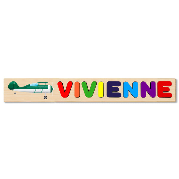 Wooden Name Puzzle Personalized Puzzle Choose Up to 12 Letters. Green Plane Theme