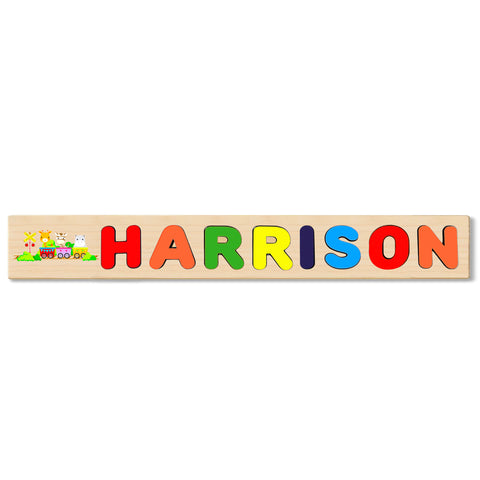 Wooden Name Puzzle Personalized Puzzle Choose Up to 12 Letters. Baby Train Animal 2 Theme