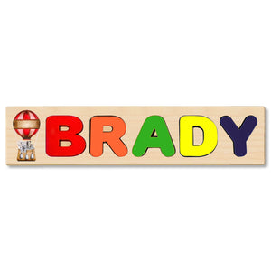 Wooden Name Puzzle Personalized Puzzle Choose Up to 12 Letters. Blue Hot Air Balloon With Elephant Theme