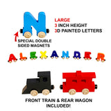 3 Letter Train Wooden Perosnalized Name Letters Includes Train & Wagon Letters Puzzle Includes Train & Wagon Free