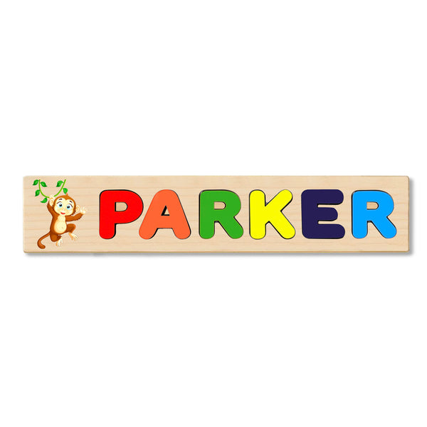 Wooden Name Puzzle Personalized Puzzle Choose Up to 12 Letters. Baby Monkey With Blue Eyes Theme