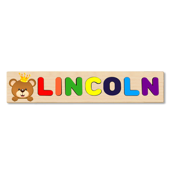 Wooden Name Puzzle Personalized Puzzle Choose Up to 12 Letters. Bear With Crown Theme