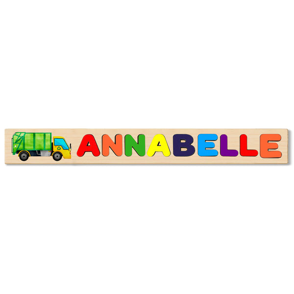Wooden Name Puzzle Personalized Puzzle Choose Up to 12 Letters. Grenn Trash Truck Theme
