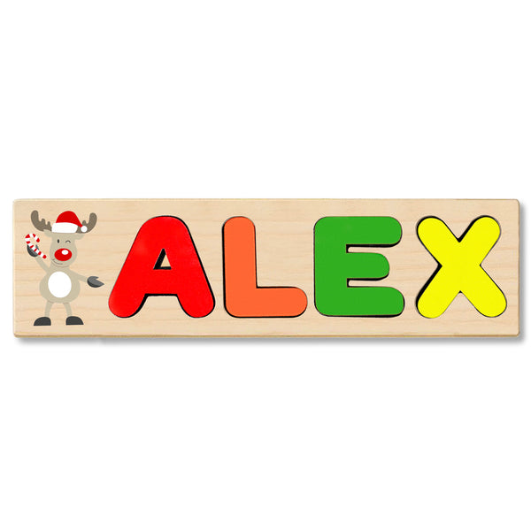 Wooden Name Puzzle Personalized Puzzle Choose Up to 12 Letters. Christmas Cartoon Deer Theme