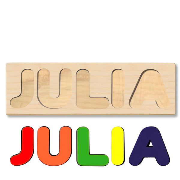 Wooden Personalized Name Puzzle - Any Name Or First & Last Name Choose up to 12 Letters No Extra Cost - JULIA