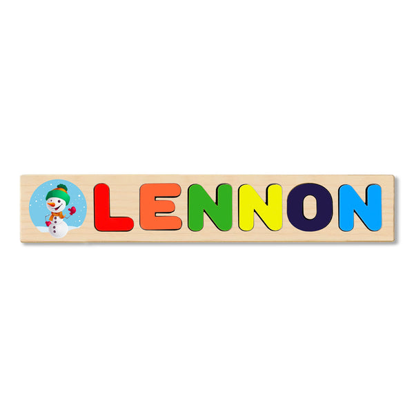 Wooden Name Puzzle Personalized Puzzle Choose Up to 12 Letters. Happy Snowman Theme