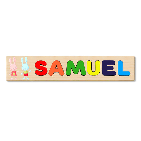 Wooden Name Puzzle Personalized Puzzle Choose Up to 12 Letters. Boy And Girl Bunny Theme