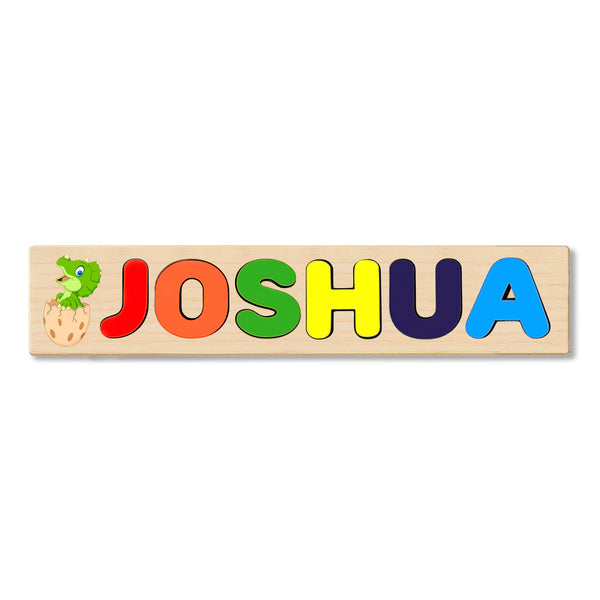Wooden Name Puzzle Personalized Puzzle Choose Up to 12 Letters. Baby Triceratops Cartoon Theme
