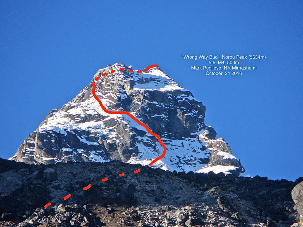 "Norbu Peak (5634m) ""Wrong Way Bud"" (5.6, M4, 500m) route drawing"