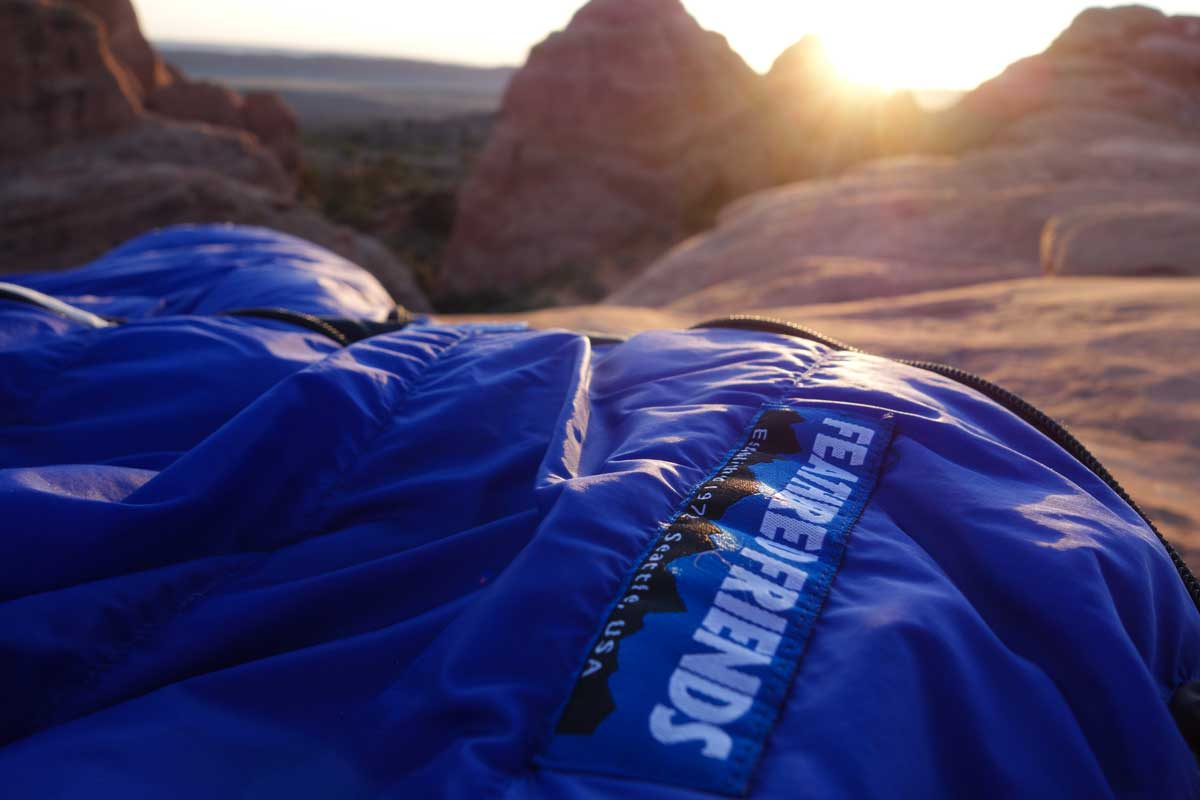 After a long day of hiking watching the sunset from your down bag is one of the best feelings out there (in our biased opinion).