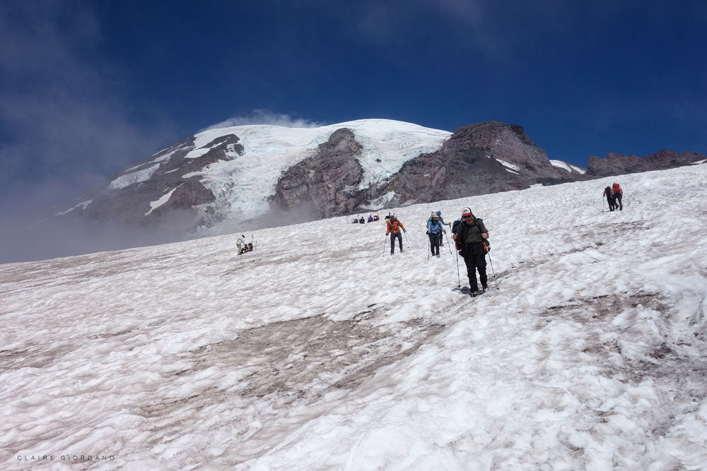 Climbers descend Mount Rainier
