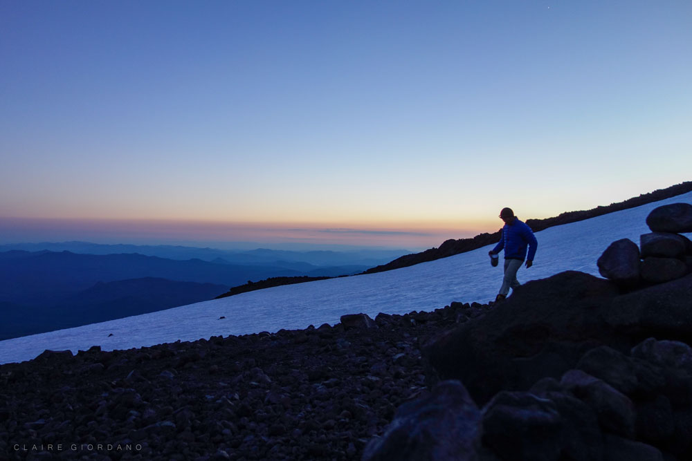 A climber on Mount Adams, South Spur Route