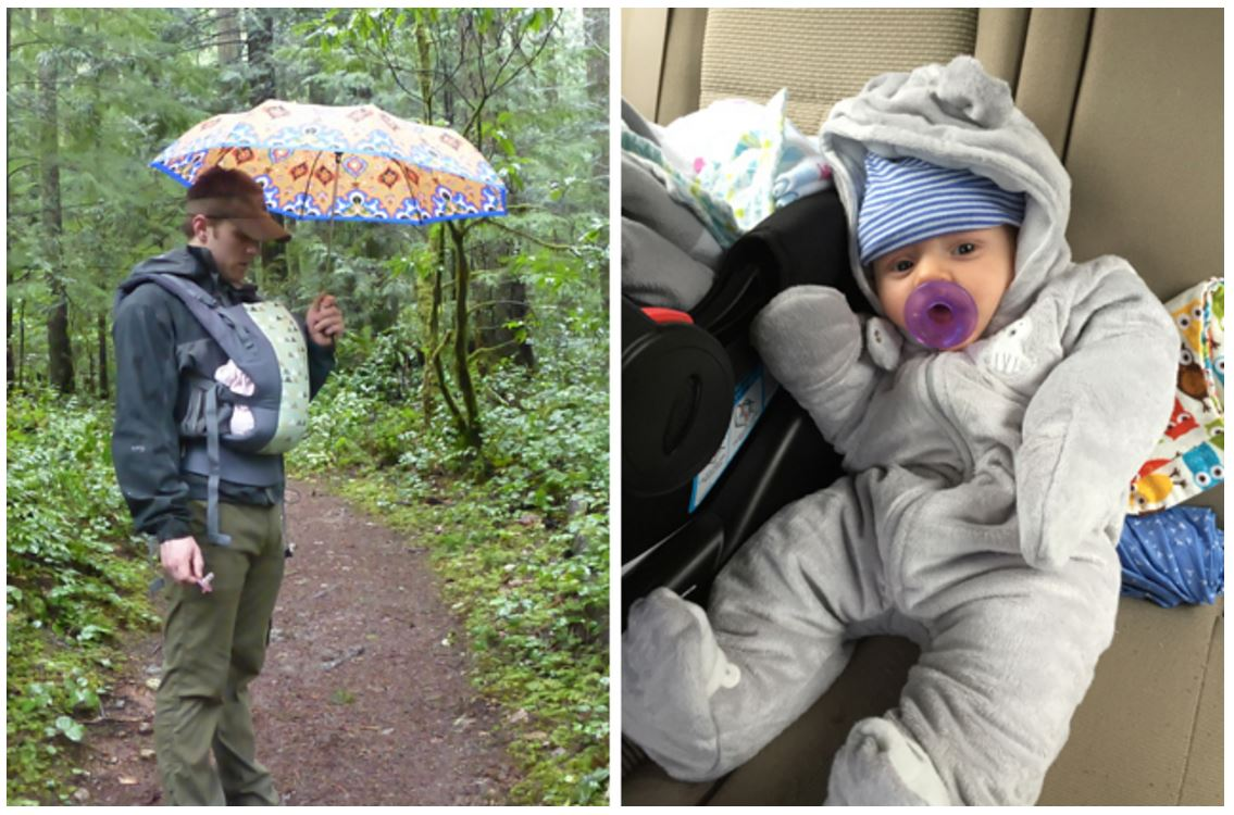 AJ bundled up for a rainy day of hiking, and staying dry in the carrier with an umbrella. Photo by Krista Dooley.