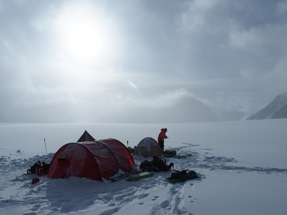 Camp 1, before the storm. Note the lack of snow-walls. After getting slammed by a big storm here, we learned our lesson!